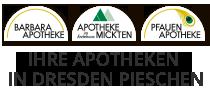 Ihre Apotheken in Dresden Pieschen – Barbara Apotheke | Apotheke im Ärztehaus Mickten | Pfauen Apotheke Logo