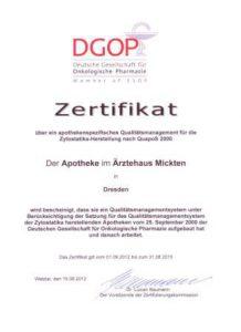 Zertifikat DGOP Apotheke im Ärztehaus Mickten