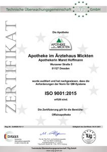 Zertifikat DIN ISO 9001:2015 Apotheke im Ärztehaus Mickten