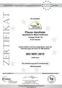Zertifikat DIN ISO 9001:2015 Pfauen Apotheke