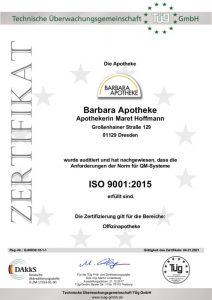 Zertifikat DIN ISO 9001:2015 Barbara Apotheke